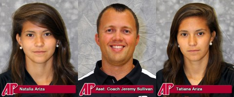 APSU Women's Soccer's Natalia Ariza, Assistant Coach Jeremy Sullivan, and Tatiana Ariza.