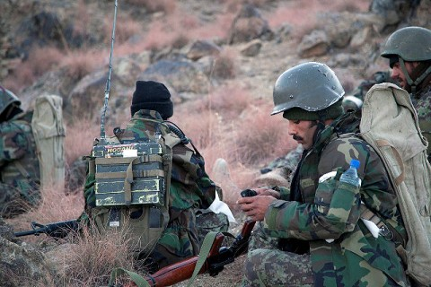 Afghan National Army soldiers of 2nd Company, Command Outpost Penich, take a break along the way to their objective during Joint Operation Eagle Claw II in Kunar Province Dec. 10th. (Photo by U.S. Army Spc. Andy Barrera, Task Force Bastogne)