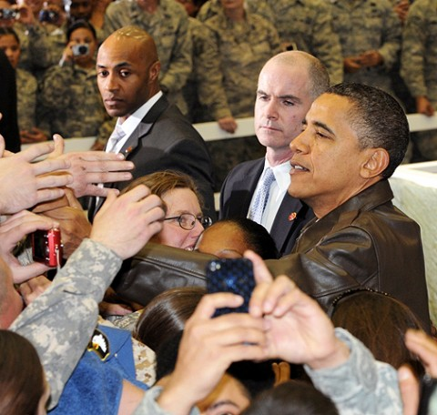 President Barack Obama shakes hands with servicemembers during his surprise visit to Bagram Airfield Dec. 3rd. (Photo by U.S. Army Sgt. David House, 17th Public Affairs Detachment)
