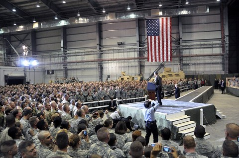 President Barack Obama sends a holiday message to servicemembers during his surprise visit to Bagram Airfield Dec. 3rd. (Photo by U.S. Army Staff Sgt. Michael L. Sparks, 17th Public Affairs Detachment)