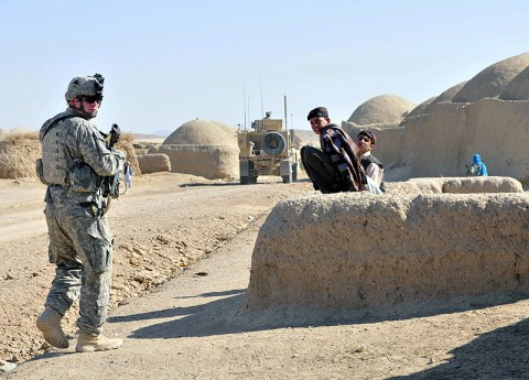 Sgt. Jimmy Letzkus, Task Force Saber Pathfinder team leader conducts a friendly patrol during a key leader engagement mission with the British Royal Air Force Regiment in Kandahar province, Afghanistan Nov. 16th. (Photo by Sgt. 1st Class Sadie Bleistein)