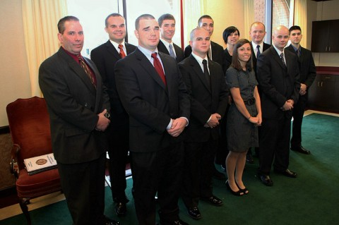 New officers-Back Row-L-R-John Burdge, Matthew Ferrell, Christopher Robinson, Ryan Steinlage, Christy Arwood, Todd Bell, James Atkins. Front row-L-R-Avery Lambert, Kyle Fleming, Brittany Boisseau, Morgan Northrup. (Photo by Jim Knoll-CPD PIO)