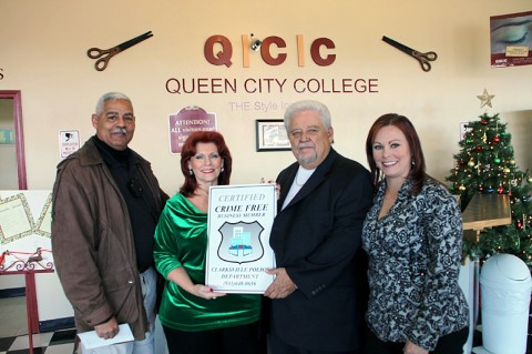 Left to Right – Officer Booker Dailey, Laura Payne-Queen City College Chief Administrator, Ralph Payne – Owner, and Brandie King-Queen City College Director.