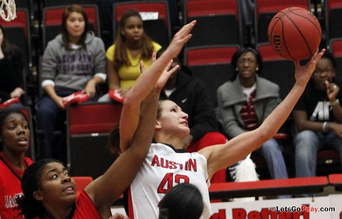 Junior Meghan Bussabarger recorded her season's second double-double in the Lady Govs victory against Jacksonville State, Saturday. (Photo Courtesy: Robert Smith/The Leaf-Chronicle)