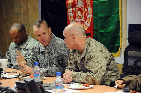 U.S. Army Col. Sean M. Jenkins, commander of Task Force Currahee, 4th Brigade Combat Team, 101st Airborne Division, discusses operations in Paktika Province with U.S. Navy Vice Adm. Robert S. Harward, Combined Joint Interagency Task Force 435 commander, during an area of operations briefing at Forward Operating Base Sharana Jan. 20th. (Photo by U.S. Army Sgt. Luther L. Boothe Jr., Task Force Currahee Public Affairs)