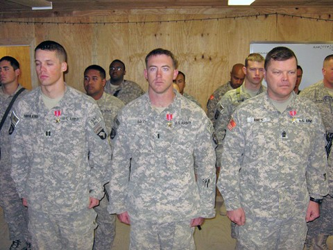 U.S. Army Capt. Edward Hoogland (left), battalion supply officer; U.S. Army 1st Lt. Austin Bass (center), Company B, 3rd Battalion, 187th Infantry Regiment, 3rd Brigade Combat Team, 101st Airborne Division, executive officer; and U.S. Army Sgt. Maj. Kirk Hines, battalion operations sergeant major, receive Bronze Stars on Forward Operating Base Andar Dec. 29th. (Photo by U.S. Army 1st Lt. R.J. Peek, Task Force Rakkasan)