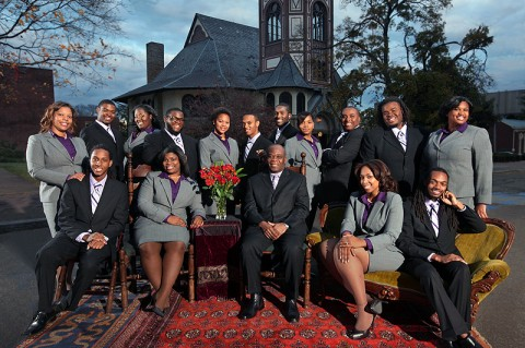 Annual portrait of the Fisk Jubilee Singers with Paul Kwame, director, in front of the Fisk Chapel.