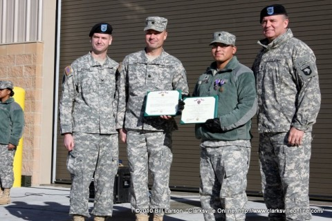 "159th Combat Aviation Brigade Commander Colonel Kenneth T. Royar,  563rd Aviation Support Battalion Commander Lieutenant Colonel John L. Smith, Specialist Leandro David Garcia III, and Major General Francis ""Frank"" Wiercinski the Senior Commander for Fort Campbell."