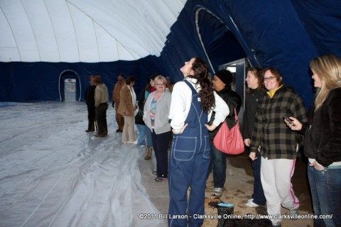 Parks and Recreation staff getting their first look at the inside of the newly inflated dome at the Indoor Aquatic Center