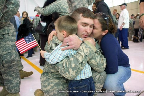 A soldier reconnecting with his family life