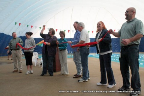 The Ribbon Cutting at the new Indoor Aquatic Center