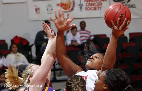 Junior Jasmine Rayner recorded her season's third double-double in the Lady Govs loss to Tennessee Tech, Thursday. (Photo Courtesy: Robert Smith/The Leaf-Chronicle)