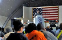 U.S. Army Lt. Col. Anthony Sansano, a native of Fair Lawn, NJ. Combined Joint Task Force-101 one-on-one equal opportunity program manager, gives closing remarks at an event held to honor Dr. Martin Luther King Jr. on Bagram Airfield, Afghanistan, Jan. 17th. (Photo by U.S. Army Sgt. Scott Davis, Regional Command-East Public Affairs)