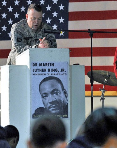 U.S. Army Maj. Jimmie Gregory, a native of Elyria, Ohio and the Combined Joint Task Force-101 Chaplain, gives an invocation during an event held to honor Dr. Martin Luther King Jr. at Bagram Airfield, Afghanistan, Jan. 17th. (Photo by U.S. Army Sgt. Scott Davis, Regional Command-East Public Affairs)