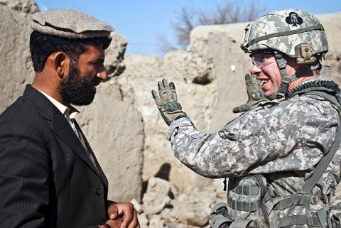 U.S. Army Capt. Paul D. Sipe, commander, Company A, 1st Special Troops Battalion, Task Force Spartan, from Clarksville, Tennessee, talks with the subgovernor of Bati Kot about plans to improve the district center in eastern Afghanistan's Nangarhar Province Jan. 15th. (Photo by U.S. Army Sgt. Ginifer Spada, Task Force Bastogne Public Affairs)