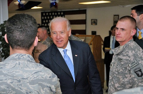 Vice President Joe Biden meets with servicemembers from Delaware during his visit to Bagram Airfield Jan. 12th. (Photo by U.S. Army Staff Sgt. Michael L. Sparks, 17th Public Affairs Detachment)