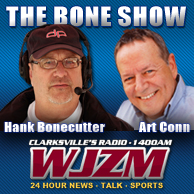 "Art Conn (R) joins ""The Bone Show"" host, Hank Bonecutter (L) as co-host of the long running radio show on WJZM."