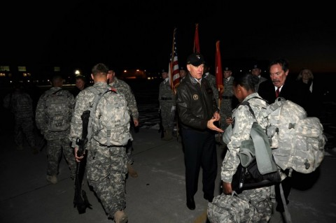 Vice President Joe Biden greets Soldiers of the 3rd Brigade Combat Team, 101st Airborne Division (Air Assault) as the troops return from a year long deployment to Afghanistan. The Soldiers landed at Campbell Army Air Field, Fort Campbell, Kentucky February 11th, 2011. (Official Army photo/Jerry Woller)