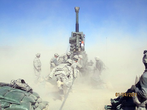 U.S. Army Soldiers from Battery B, 4th Battalion, 320th Field Artillery Regiment, 4th Brigade Combat Team, 101st Airborne Division fire 155mm rounds from an M777A2 howitzer in support of combat operations in Paktika Province Jan. 4th. (Courtesy photo)