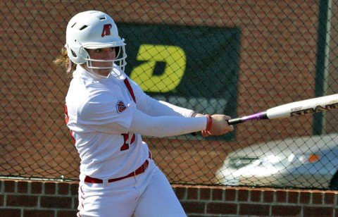 Red-shirt sophomore Shelby Norton hit her second home run of the season to give Lady Govs an early lead in victory over Missouri-Kansas City. (Photo by Lois Jones/Austin Peay)