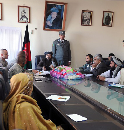 U.S. Army Col. Sean M. Jenkins, U.S. Army Lt. Col. Darrin Rickets, and U.S. Army Command Sgt. Maj. William Hambrick, commander, deputy commander and command sergeant major, respectively, of Task Force Currahee, attend a peace conference hosted by Paktika Province Gov. Moheebullah Samim and the Peace Council at the Governor Provincial Center Jan. 22nd. (Photo by U.S. Army Spc. Kimberly K. Menzies, Task Force Currahee Public Affairs)