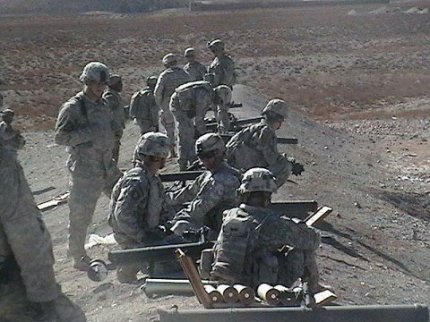 U.S. Army Soldiers from 1st Battalion and 2nd Battalion, 506th Infantry Regiment, 4th Brigade Combat Team, 101st Airborne Division, wait for the signal to safely begin firing the M67 90mm recoilless rifle during a practice firing of the weapon at a Forward Operating Base Orgun-E range Jan. 27th. The Soldiers fired roughly 150 rounds of 90mm ammunition. (U.S. Army photo by Staff Sgt. Nathan J. Hyman, 4th Brigade Combat Team, 101st Airborne Division)