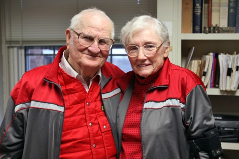 Mildred Frensley stands with her husband John in the office of Dr. Bert Randall, professor of philosophy at Austin Peay State University. She has audited almost every philosophy course in the APSU Department of History and Philosophy, and professors in the department recently awarded her an honorary Doctor of Metaphysics. (Photo by Melony Shemberger, APSU Public Relations and Marketing)