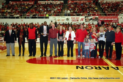 The Inductees with their families at the APSU vs Murray State Game