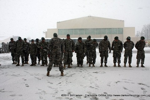 The returning soldiers of the 3rd Brigade Combat Team form up in the snow for their grand entry during the Welcome Home Ceremony.
