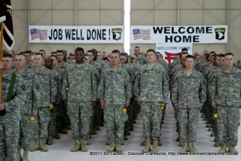 Soldiers of the of the 3rd Brigade Combat Team, each a yellow rose for their families from the Navy Federal Credit Union.