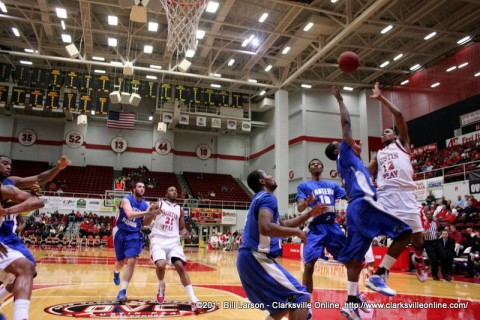 Tyshwan Edmondson fires a shot at the APSU goal
