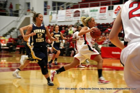 Junior Whitney Hanley scored 19 points in the Lady Govs victory against Murray State, Saturday.
