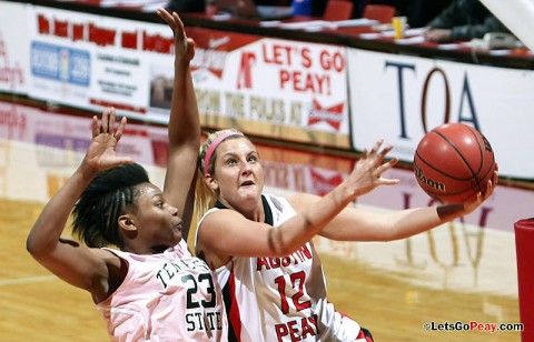 Junior Whitney Hanley scored 17 points in the Lady Govs victory against Tennessee State, Saturday. (Austin Peay Sports Information)