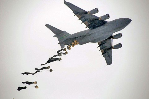 A C-17 Globemaster III drops bundles of supplies for Soldiers at Forward Operating Base Waza Kwah Jan. 30th. (Photo by U.S. Army Sgt. 1st Class Pete Mayes, Task Force Lifeliners Public Affairs)