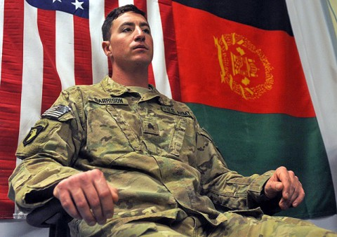 U.S. Army Sgt. Kevin Garrison, a squad leader assigned to 1st Battalion, 327th Infantry Regiment, 1st Brigade Combat Team, 101st Airborne Division, tells his story February 4th about his experiences in eastern Afghanistan's Pech River Valley. (Photo by U.S. Army Spc. Richard Daniels Jr., Task Force Bastogne Public Affairs)