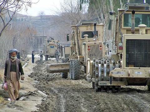 The 1430th Engineer Company, horizontal construction engineers, and the 744th Engineer Company, 54th Engineer Battalion, in cooperation with the Government of the Islamic Republic of Afghanistan and Afghan National Security Forces, begin the process of rebuilding the roads in eastern Afghanistan's Khogyani and Sherzad Districts Feb. 8th. (Courtesy photo)