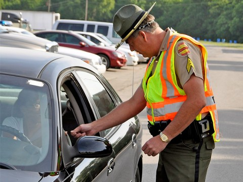 Tennessee Highway Patrolman on a traffic stop.
