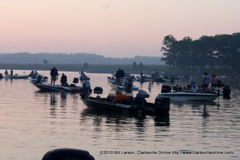 The start of last year's APSU Governors Bass Tournament.