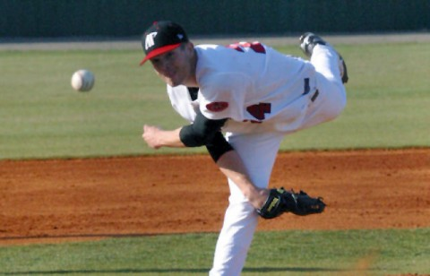 Senior Jack Snodgrass struck out seven over 6.2 innings in the Govs extra-inning loss at Mississippi, Tuesday night. (Austin Peay Sports Information)