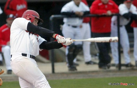 First baseman John Hogan hit his fourth home run this season in the Govs loss to Middle Tennessee, Wednesday night. (Robert Smith/The Leaf-Chronicle)