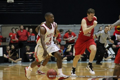 Caleb Brown brings the ball upcourt as Austin Peay State University defeats Southeast Missouri 76-60 victory, Thursday night. Brown also scored a career-high 28 points.