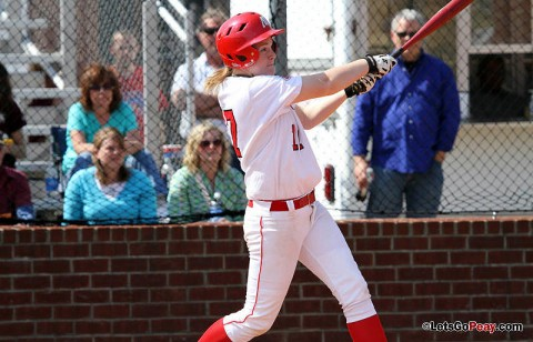 Sophomore Morgan Brewer won her third straight decision, while also slamming her first home run of the season in Game 2 versus Tennessee State. (Austin Peay Sports Information)