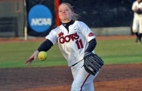 Junior Ashley Bolda pitched a complete game in win against Alabama State. (Austin Peay Sports Information)