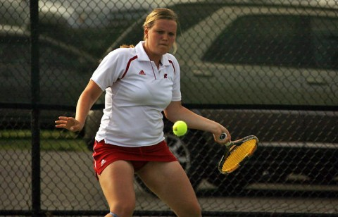 Vanja Tomic, at No. 1 singles, brought home Austin Peay's only win. (Austin Peay Sports Information)