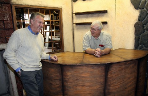 """Retired Austin Peay State University professors George Mabry and Richard Gildrie joke around on the tavern set of their new musical """"Ben and the Virtues."""" (Photo By Charles Booth/APSU Public Relations and Marketing)"""