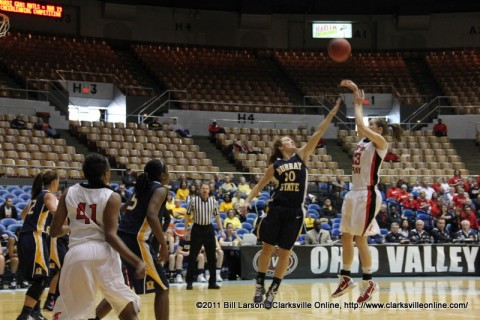 Brooke Faulkner hits a two pointer againest Murray State as Austin Peay goes on to win in the first round of the Ohio Valley Conference Women's Basketball Championships. Faulkner tied a career high 20 points in the victory.
