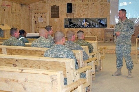 U.S. Army Chaplain (Maj.) Randall H. Robison of Grand Prairie, TX, Task Force Currahee brigade chaplain, 4th Brigade Combat Team, 101st Airborne speaks with Currahee Soldiers during a three-day, semimonthly Toccoa Tough Resiliency Course at Forward Operating Base Sharana March 11th. (Photo by U.S. Army Sgt. Christina Sinders, Task Force Currahee Public Affairs)