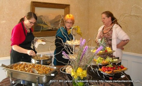 Susie Parker and Sonda Morgan discuss culinary treats with Beverly Bridges, owner of The Choppin Block restaurant, at Saturday's Beauty Inside and Out.