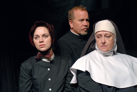 (L to R) Kendall Anne Thompson, Tom Thayer, and Leslie Greene, the cast of DOUBT at the Roxy Regional Theatre in Clarksville, TN. (Photo by Gili Getz)