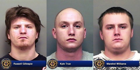 Russell Gillespie, Kyle True and Marshel Williams charged with Burglary in Clarksville TN.